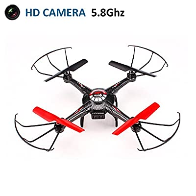 Koiiko 2.4G 6Axis RC RTF Quad Copter UFO UAV Headless Quadcopter with HD 2.0MP 5.8G FPV Real-Time Aerial Photo Video Camera and 4.3 Inches FPV Monitor + 4G Card + 2.4G Remote Transmitter for Toy Gift