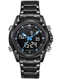 Naviforce marca Sport Full Militar del Ejército de acero digital LED reloj de pulsera (Azul)