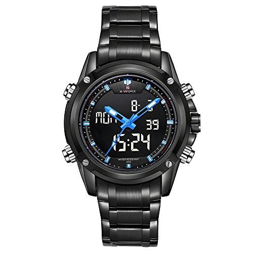 naviforce Marke Sport Full Stahl Digital LED Army Military Armbanduhr (blau)