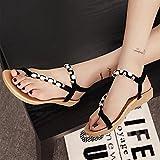 Sonnena Womens Summer Rhinestone Bead Bohemia Folk Round Dunlop Clip Toe Sandals Boho Beach Flip Flops Flat Elastic T-Strap Post Thong Sandals Shoes