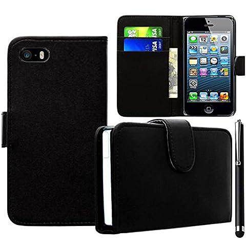 VCOMP® Housse Coque Etui portefeuille cuir PU pour Apple iPhone 4/ 4S/ 4G + stylet - NOIR