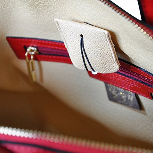 Pratesi Versilia italien fourre-tout en cuir sac à main, sac à bandoulière (rouge) bleu foncé