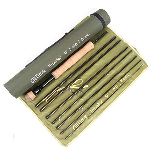 Maximumcatch Alltime Traveller Fliegenfischen Rute-Ultra kompakt für Rucksack 8 Teile 9ft mit Cordura Rohr(Größe: 5/6/8wt) (9' 6wt 8 Teile)