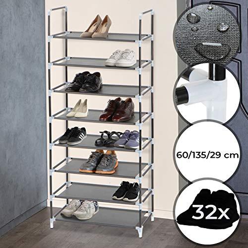 MIADOMODO Schuhregal - L, 8 Ebenen für 32 Paar Schuhe - aus Stahl und Stoff - Schuhablage, Stoffregal, Stoffregal, Schuhständer, Schuhschrank
