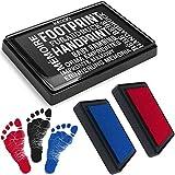 kiinda Baby Fuß- oder Handabdruck Set in 3 Farben | sichere wiederverwendbare Stempelkissen | leicht von der Haut abwaschbar | ideales Geschenk (SET rot/blau/schwarz)