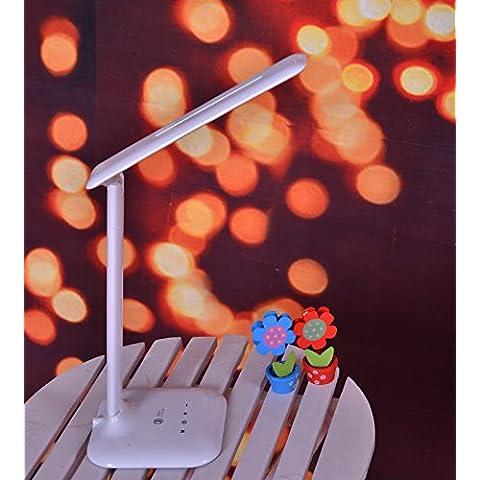 FDH Children's LED lámpara de mesilla de noche toque de atenuación de luz / Luces de lectura / Lámpara de Camping/LED lámpara de escritorio, recargable libro luz regulable con luz de noche Base, Eye-Care LED, brazo flexible, carga por USB, tocar, viajar ligero, Dormitorio Cabecera Craft Lámpara de mesa, lámpara, Luz de lectura para niños Los niños