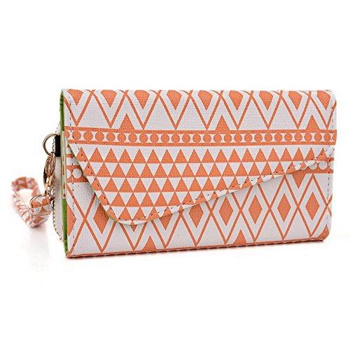 Kroo Pochette/étui style tribal urbain compatible Panasonic T21/T41 Multicolore - Brun Multicolore - White and Orange