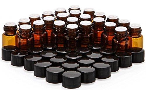 Vivaplex B2-OR24 Glasflaschen mit Blende Reduzierstücke und schwarzen Kappen, 2 ml Fassungsvermögen, Amber (Packung mit 24)