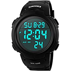 Groupstars SKMEI 5ATM Waterproof LCD Digital Men's Sports Military Multifunctional Dive Watch Black