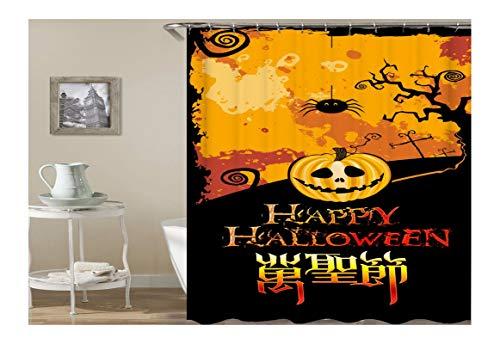 AnazoZ Duschvorhang Anti-Schimmel, Wasserdicht Vorhänge an Badewanne Antibakteriell, Bad Vorhang für Dusche 3D Happy Halloween Kürbis Baum, 100% PEVA, inkl. 12 Duschvorhangringen 150 x 200 cm