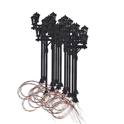 MagiDeal Lot 20pcs Lumière De Jardin Modèle Doubles Têtes Lampadaire échelle 1:100 Maquette Paysage