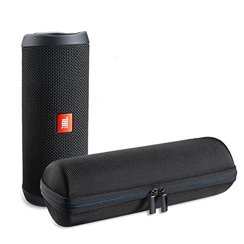 Sac de Transport AVIDET EVA Hard Case Travel pour Haut-Parleur Bluetooth sans Fil JBL Flip 4, Compatible avec Le Câble USB et Le Chargeur Mural(Noir)