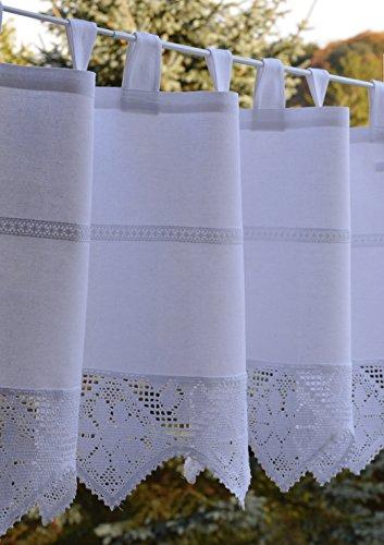 Scheibengardine Häkelkante Bistrogardine mit gehäkelter Spitze Panneaux Shabby Nostalgie Landhaus Look ca. 40 x 150 cm Weiß