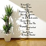 "Calcomanía/Pegatina Mural Decorativa con Diseño Mensaje Amor de Familia ""Family Love Life"" - Apropiada para Salón Comedor Entrada - Grande, Negro Brillo"