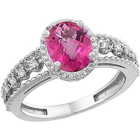 Revoni, colore: rosa, oro bianco 14 k con topazio ovale galleggiante anello, 9 x 7 mm, dettagli in