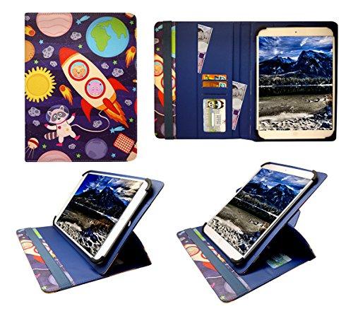 """Sweet Tech Denver TAD-10063 / TAD-10072 / TAQ-10122 / TAQ-10133 / TAQ-10153 10.1"""" Inch Tablet Karikatur Astronauten Universal 360 Grad Wallet Schutzhülle Folio mit Kartensteckplätzen (9-10 Zoll"""