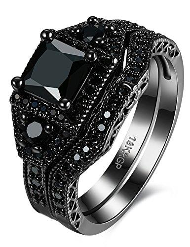 Schwarz Messing Diamant weiß Zinken-Set Diamond Princess Schnitt Diamant Engagement Ringe