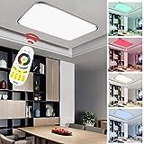 Hengda® LED Deckenleuchte RGB Mit Fernbedienung Lichtfarbe und Helligkeit einstellbar Moderne Esszimmer Deckenbeleuchtung Badezimmer geeignet [Energieklasse A++] (96W RGB)