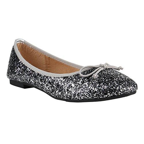 Klassische Damen Ballerinas | Glitzer Ballerina Schuhe Lack | Party Schuhe Zeitschuhe Schleifen | Basic Slipper Flats | Freizeitschuhe Hochzeit Abiball Silber Glitzer