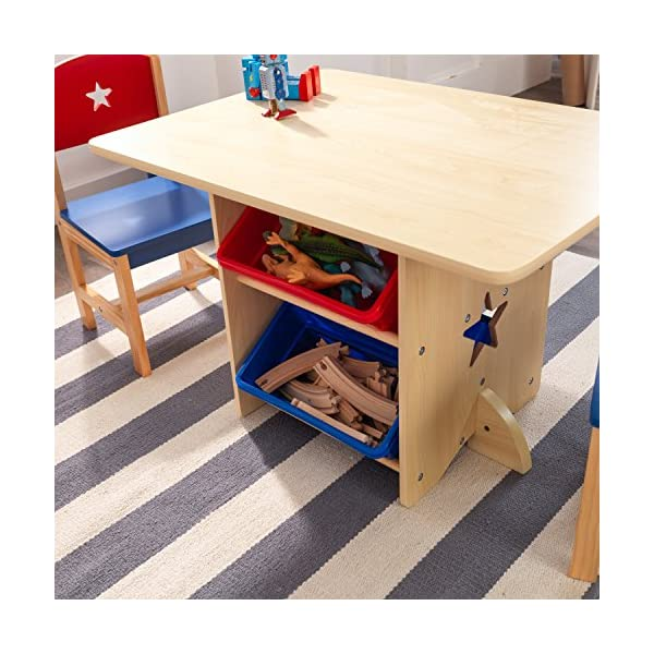 KidKraft 26912 Star Wooden Table & 2 Chair Set with storage bins, kids children's playroom / bedroom furniture - Red & Blue KidKraft Four convenient storage bins Bins can be reached from either side of table Star-shaped holes on table and chairs 12