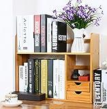 ZMSJ-YJ Bambus Massivholz Einfache Bücherregal Desktop Regal Desktop versenkbare Bücherregal mit Schublade Bücherregal (Größe : 48 * 19.5 * 46cm)