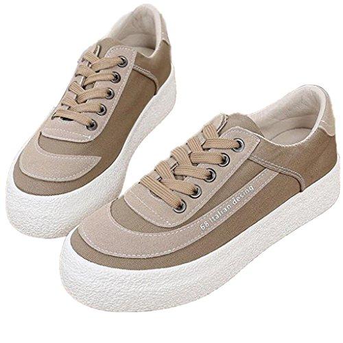 SHFANG Lady Shoes Retro scarpe di tela di spessore inferiore spazzola studenti letterari confortevole movimento di svago tre colori Khaki