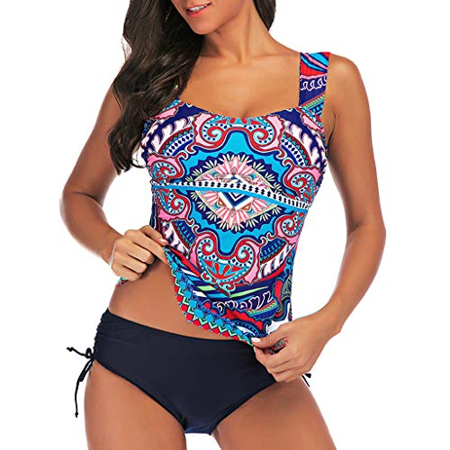 TOPSELD Tankini Damen, Frauen Plus Size Print Tankini Swimjupmsuit Badeanzug Bademode Padded Swimwear