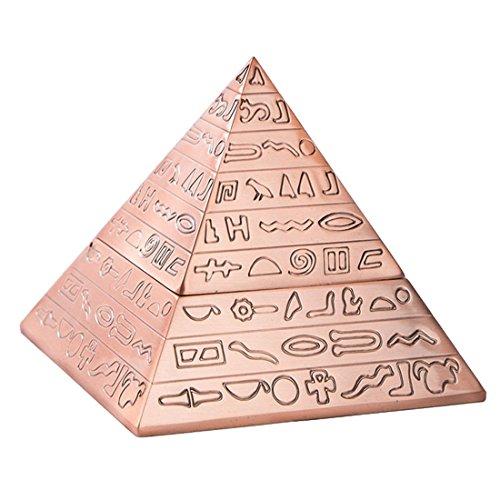Decoracion de Bronce de Moda Creativa piramide Tallada Metal Egipcio Clasico Vintage con Tapa cenicero Decoracion del hogar Regalo