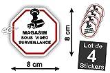 Sticker Vidéo-Surveillance ' Magasin ' Autocollant ( Lot de 4 Stickers )