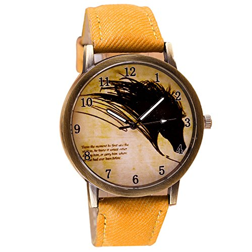 Sannysis Retro Clock Pferde Cowboy-Leder-Quarz-Uhr