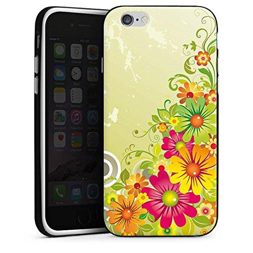 Apple iPhone X Silikon Hülle Case Schutzhülle Flowers Blumen Floral Silikon Case schwarz / weiß