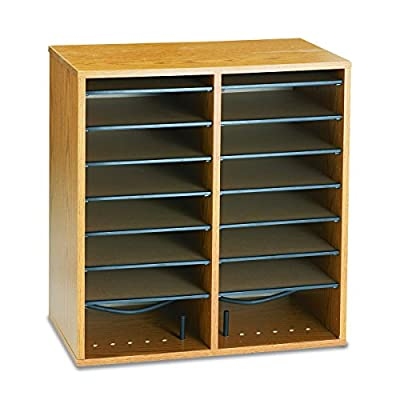 Safco Medium Oak Wood Adjustable Literature Organiser with 16 Compartment - low-cost UK light store.