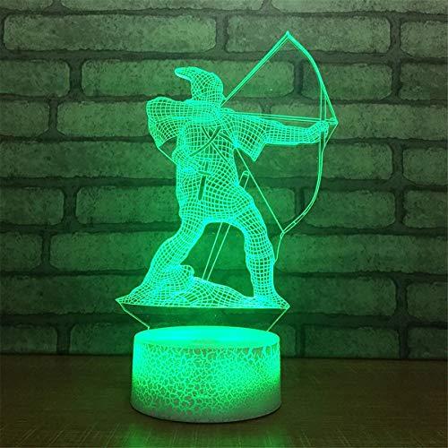 USB-Stromversorgung Dekorativ Bogenschießen 7 Farben Optische Täuschung Nachtlicht Crackle Paint Base Touch Tisch Schreibtisch Lampen 3D Leuchten LED Lampe Kunst Skulptur Lichter Tragbare Schlaflicht - Base-dekorative Licht-lampe