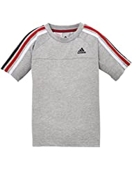 adidas Essentials 3-stripes Crew - Camiseta de fitness para niño, color gris, talla FR: FR : 15-16 ans (Taille Fabricant : 176)