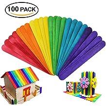 HTIANC 100 pcs Palos de madera de colores, Materiales de DIY manualidades con palitos de helado Diseño creativo para niños Posavasos y cabaña construida.