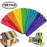 Bâtonnets en Bois -HTINAC-100 PCs de Haute Qualité Artisanat Bâton de Bois, Multicolore Bâton de Métier pour Enfant Artisanat d'Art Designs Créatifs (6 Couleur)