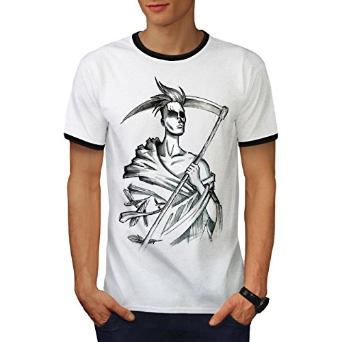 Grimmig Schnitter Cool Fantasie Tod Geist Herren M Ringer T-shirt | Wellcoda (Geist T-shirt Ringer)
