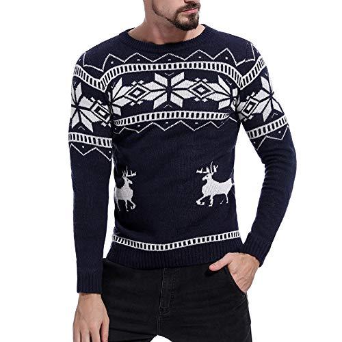Xmiral Strickpullover Herren Weihnachten Streifen Rundhals Pullover Grobstrick Top (XL,Blau)
