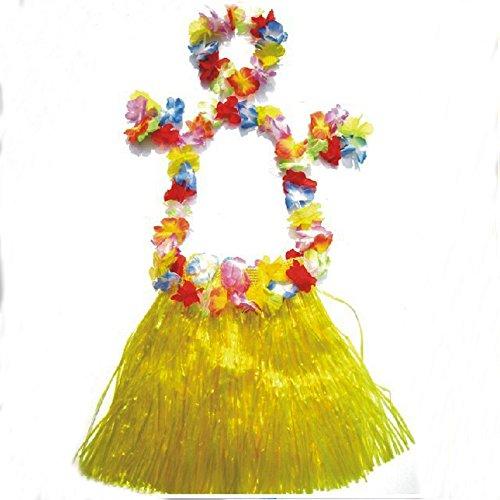 Little Sporter Hawaiian Kostüme Hawaii Tropical Hula Grass Dance Rock Grass Tanzen Rock und BH Set für Kinder Gelb 6 ()