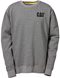 CAT Caterpillar Crew Jumper XL Extra Large Grey 80% Cotton 100% Polyester Fleece