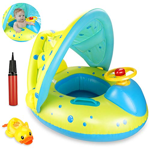 joylink Anello di Nuoto, Piscina Salvagente per Bambini con Tettuccio Gonfiabile Piscina per Bambino Galleggiante Anello in Piscina Giocattolo Acquatico (6-36 Mesi)