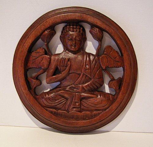 tibettan Buddha Intaglio in legno da appendere, commercio equo e solidale, 20cm