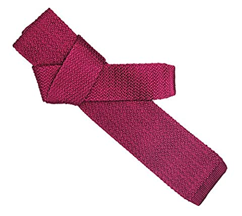 100% SILK knitted neckties fashion casual square end solid color (pink)