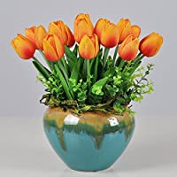 ZHUDJ El Salón Está Decorado Con Flores Tulipanes Macetas Macetas Con Flores De Seda Kit De