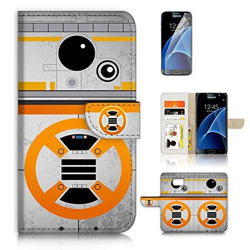 (für Samsung Galaxy S7) Flip Wallet Case Cover & Displayschutzfolie Bundle. a8488Krieg der Sterne BB8