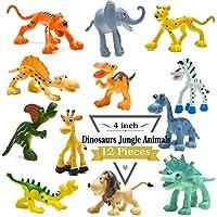 4 pulgadas figuras de dinosaurio de dibujos animados con animales de bosque conjunto, 12 piezas de animales de plástico salvaje y Dino partido favores juguetes juego conjunto BigNoseDeer (Dinosaurio + Animal Salvaje)