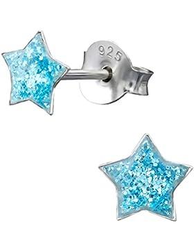 JAYARE Kinder Sterne Ohrringe 925 Sterling Silber 5 mm Mädchen Ohrstecker im Geschenk-Etui Glitzer blau pink weiß
