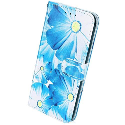 Herbests Kompatibel mit Samsung Galaxy A40 Handyhülle Muster Luxus Bunt Muster Flip Case Schutzhülle Brieftasche Hülle Wallet Tasche Leder Hülle Klapphülle Kredit Karten,Sonnenblume