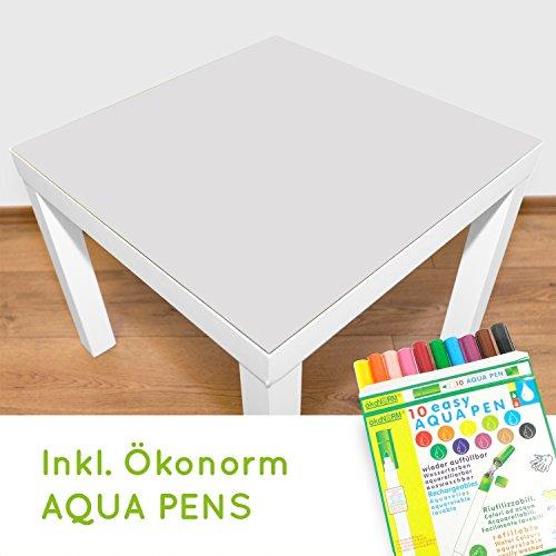 Playmatt bemalbare Spielmatte für Tisch oder Boden, schadstofffrei, rutschfest, waschbar, 55 x 55 cm, passt perfekt auf IKEA Lack Tisch