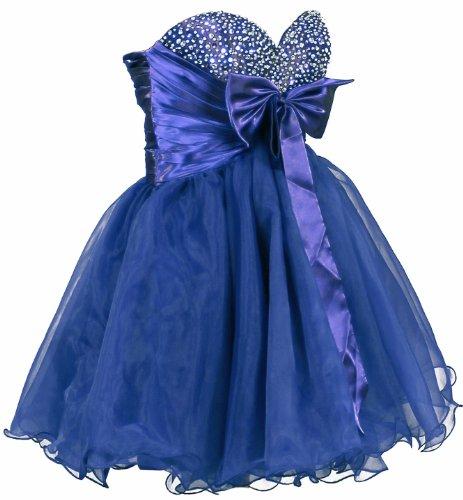 Faironly Mädchen Kurze Heimkehr Abschlussball-Kleid M4060 (S, Blau)
